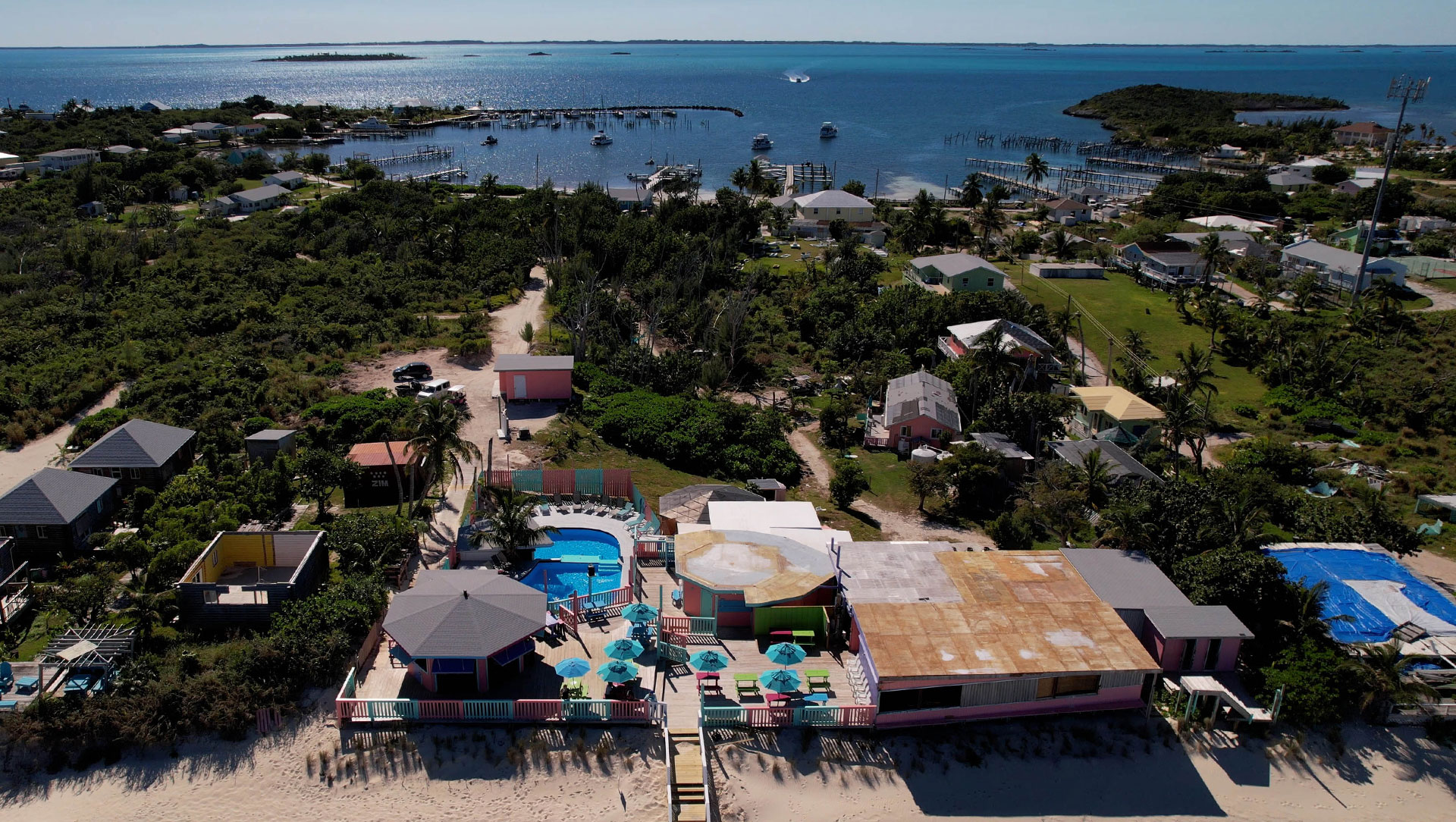 Nipper's Beach bar on Guana Cay - View from upper deck