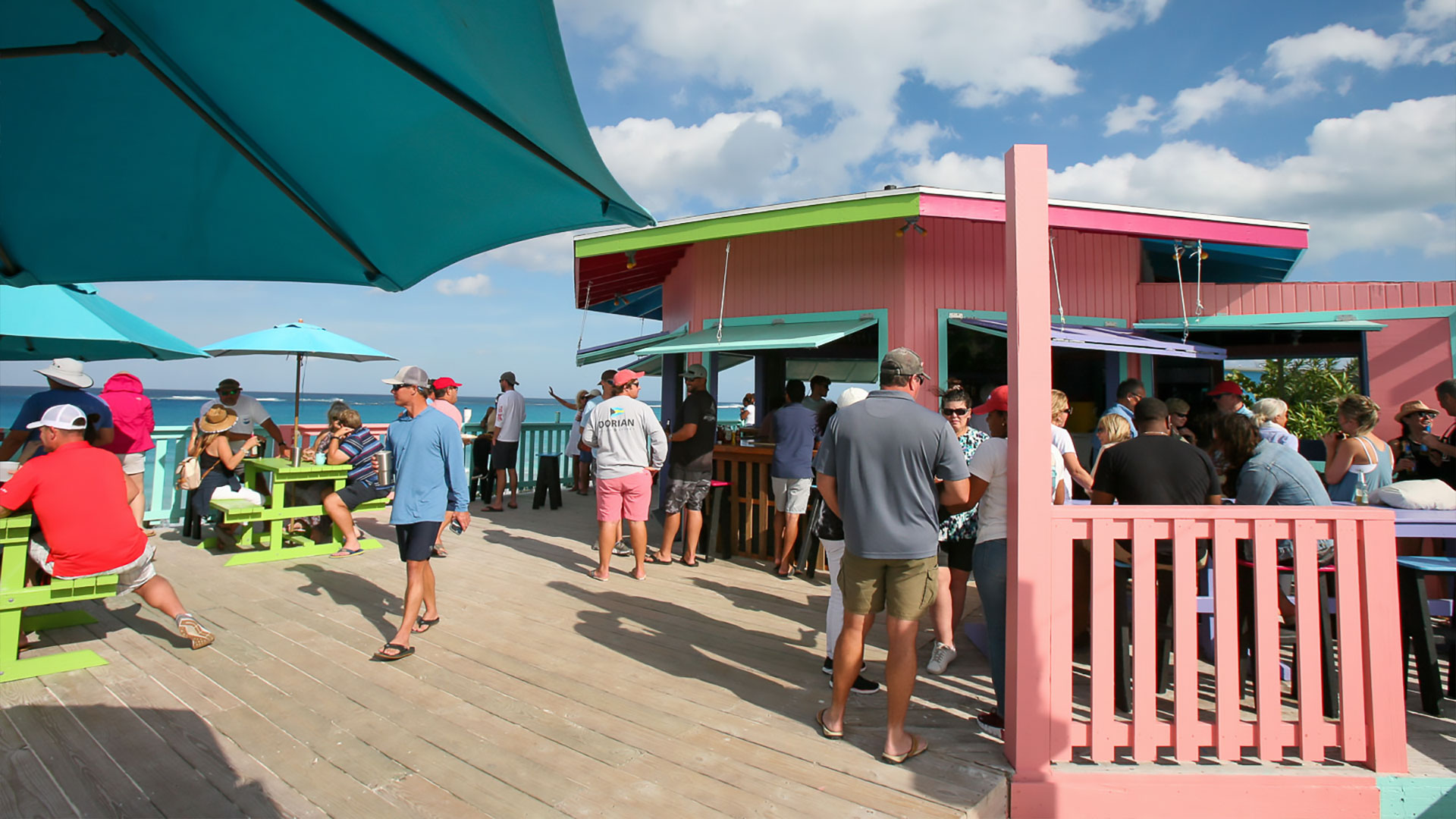 Nipper's Beach bar on Guana Cay - Aerial View